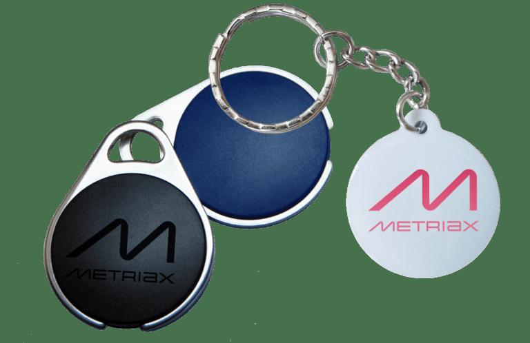 Metriax-RFID-NFC-Keyfobs-Schlüsselanhänger-Epoxy-Metall-Ladesäule-Zutrittskontrolle-Zeiterfassung-LF-HF