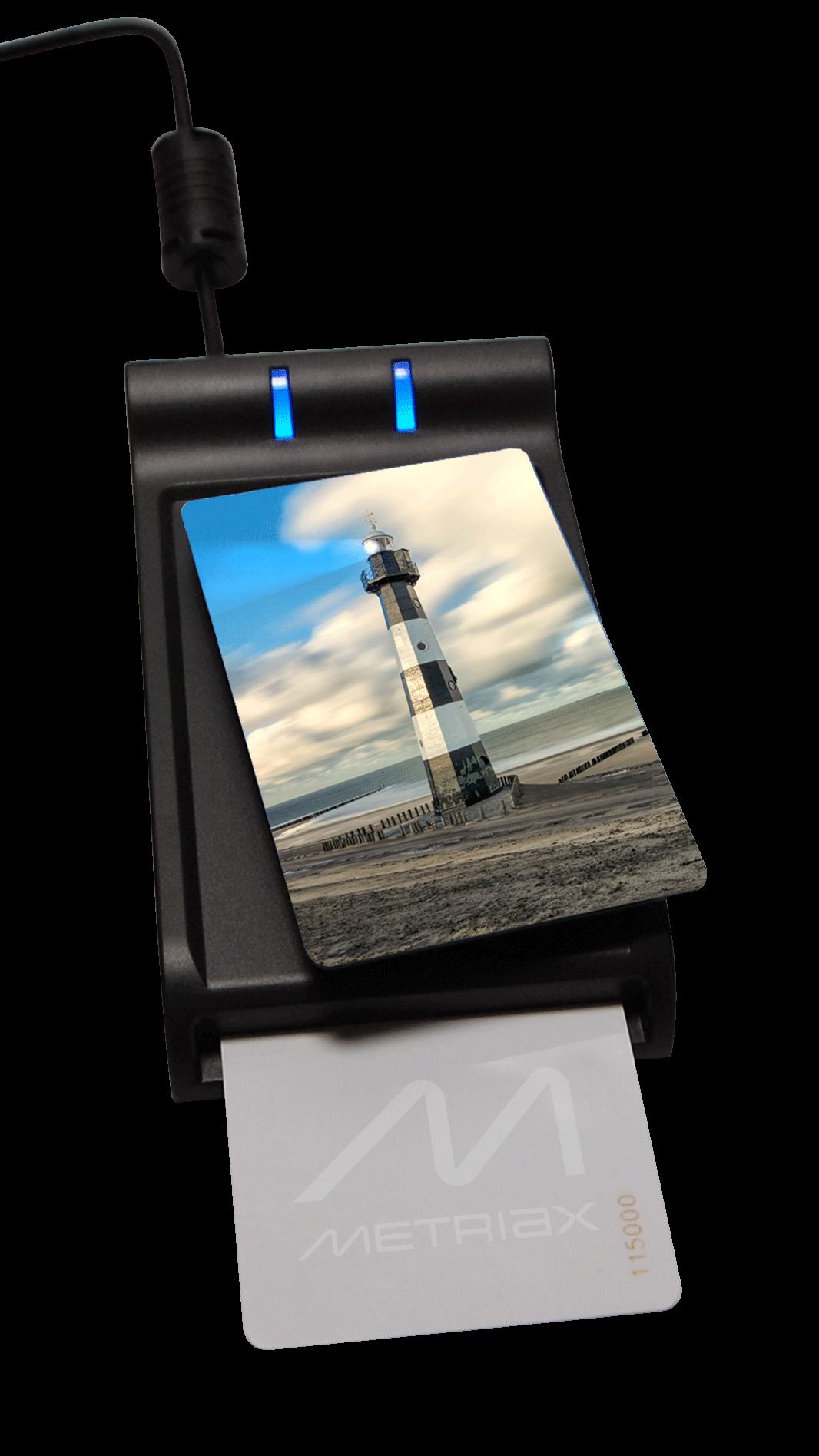 Metriax-MDE 620-RFID-NFC-Tischleser-Desktopleser-Chipkarten-Kontaktlos-Dualleser-ISO 14443-ISO7816-HID Leser-PC/SC-Mifare-ISO18092