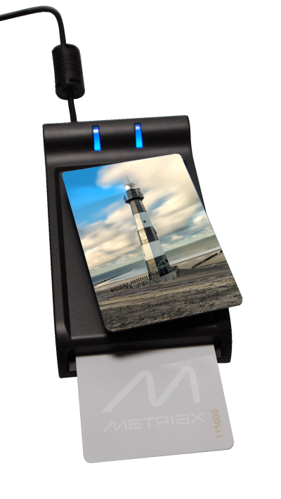 Metriax-MDE 620-RFID-NFC-Tischleser-Desktopleser-Chipkarten-Kontaktlos-Dualleser-ISO 14443-ISO7816-HID Leser-PC/SC-Mifare-13,56 MHz